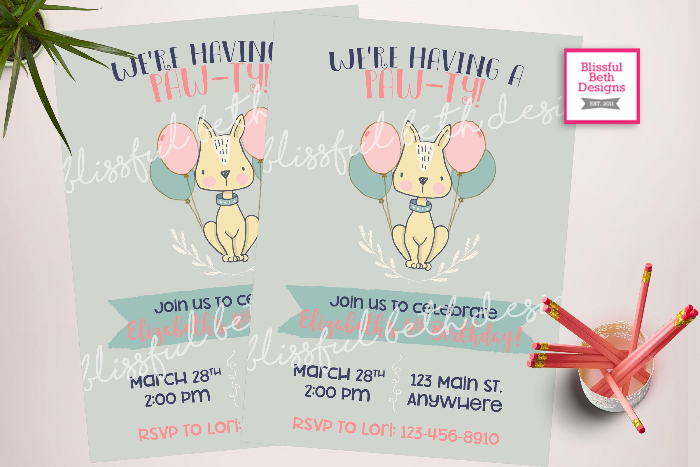 Puppy birthday party invitation, printable Puppy themed birthday ...
