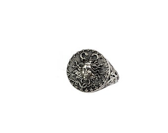 medusa ring in sterling silver