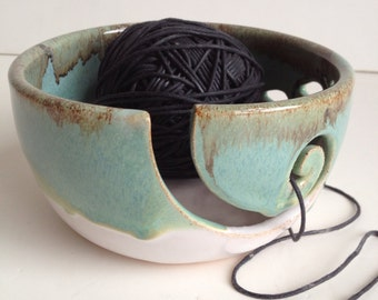 White Green Rustic Wheel Thrown Yarn Bowl - MADE TO ORDER