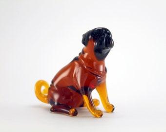 Color Glass pug dog Figurine.Dog Figurine Glass.Figure miniature.glass lampwork.glass dog sculpture.dog figurine.(x80)