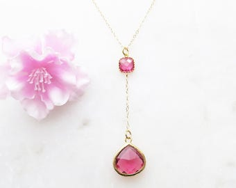 Gold Y Necklace, Lariat Necklace, Valentines Day Gift, Ruby Necklace, Wedding Gift, Bridesmaid Necklace, Gift for Best Friend, Boho Necklace