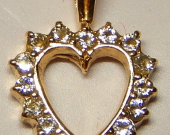 """14k Gold over silver chain with Diamonds Heart-shaped pendant, 1/2"""", 18"""" chain"""
