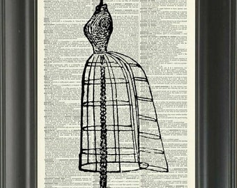 40% OFF SALE Vintage Dictionary Page Print - Vintage Dress Stand - 418DF - Buy 2 Get 1 Free - Dressform - Fashion - Victorian - Steampunk  A
