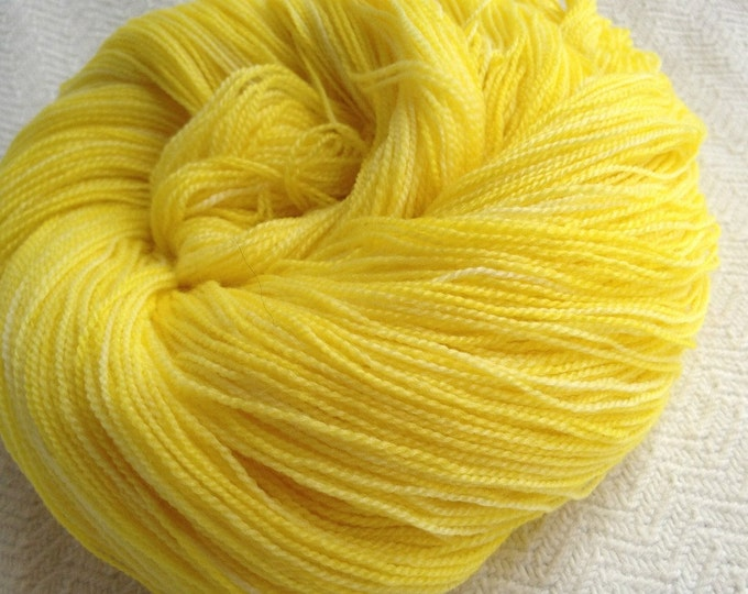hand dyed lace weight yarn bamboo yarn Yellow Gold No Scurvy Bag of Lemons butter yellow merino bamboo 875 yards