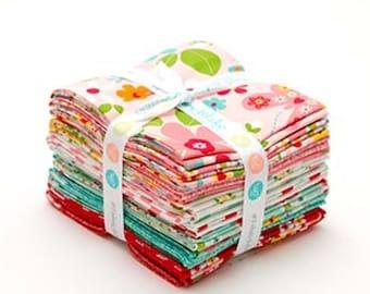 "Riley Blake - Garden Girl Fat Quarter Bundle by Melley &  Me - 18 FQ's - 18"" x 21"" each FQ - 100% Cotton"