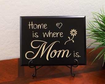 """Decorative Carved Wood Sign with Quote """"Home is where Mom is."""" 12""""x9"""" Free Shipping"""