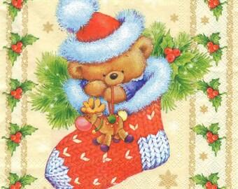 4 Decoupage Napkins, Paper Napkin for Decoupage, Christmas Teddy Bear Decoupage, Craft Napkin, Xmas Napkin, Decoupage Paper