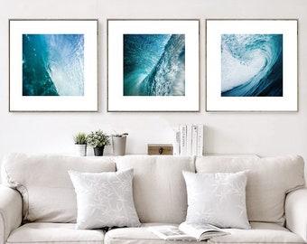 Wave Print, Set of 3 Prints, Modern Nautical Decor, Ocean Print, Large Wall Art Prints, Coastal Wall Art, Downloadable Art, Digital Download