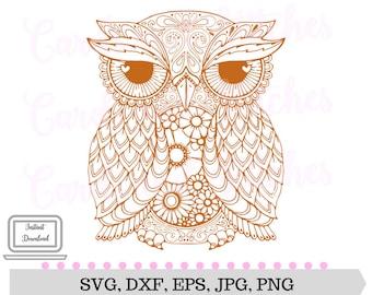 Owl Mandala SVG - Owl SVG - Mandala Owl SVG - Digital Cutting File - Vector Cut - Cricut Cut - Instant Download - Svg, Dxf, Jpg, Eps, Png