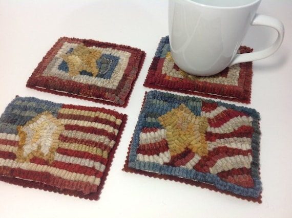 Rug Hooking PATTERN, Little Flag Mug Rugs, J819, Coasters, mats, hooked rugs