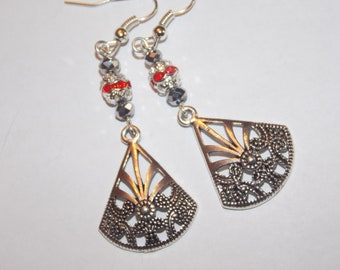 Red Crystal encrusted Silver Plated beads Silver Crystal Tibetan Silver Fan Earrings