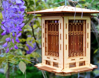 Bird Feeder, Craftsman Prairie Style Wooden 3D puzzle kit and lantern. DIY model you build! Mason Jar w/ Seed Included. Lights can be added!