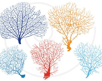 Sea fan coral silhouettes, digital clipart, clip art set for home decor, nautical clip art, drawing, illustration, vector, instant download