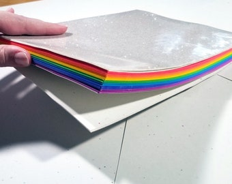 Rainbow Sketchbook - Soft Cover Glitter Rainbow Sketch Notebook Hand Bound Colored Paper Sketchbook
