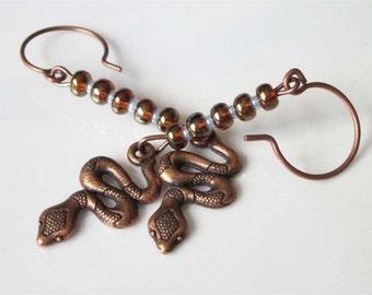 Copper Snake Earrings, Rattle Snake, Serpent Earrings, Antiqued Metal and Czech Glass, Unisex, Mens Dangle Earrings