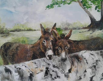 """Painted with oil knife """"two friends"""" - 3D picture"""