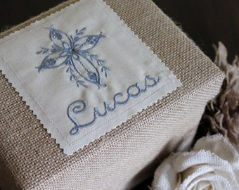 Personalized Keepsake Box Burlap with Heirloom Cross Design - Gift for Baby Shower, Christening, Baptism, New Baby, New Parents/Mommy/Daddy