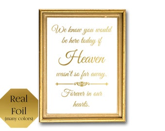 Heaven So Far Away Forever In Our Hearts, Memorial Sign Wedding Remembrance Sign Wedding Signage, In Memory Of, Remember A Loved One Wedding