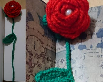 Crochet Rose Bookmark