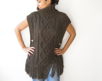 Brown Cable Knit Poncho by Afra