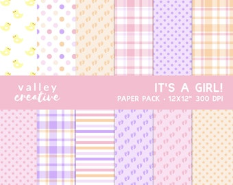 It's a Girl - Baby Shower - Digital Scrapbook Paper Set - 300 DPI - Instant Download