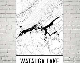 Watauga Lake Tennessee, Watauga Lake Dam, Watauga Lake Map, Tennessee Map, Lake Map, Tennessee Art, Tennessee Print, Watauga Lakes