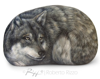 Wolf Hand Painted Stone | Rock Painting Art by the Artist Roberto Rizzo