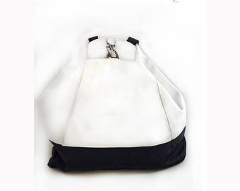 White and Black leather Backpack Bag - School bag  - Handmade backpack - Backpack - Shoulder Bag - Travel Bag - Laptop bag