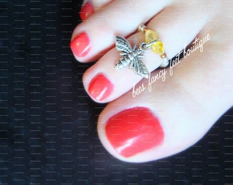 Bee Toe Ring, Bee Ring, Bee Dangle Charm, Bee Charm Bead, Yellow Crystal Bicones, Silver Toe Ring, Toe Ring, Ring, Stretch Bead Toe Ring