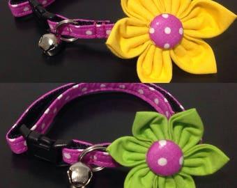 Cat Collar Flower Set - Magneta/White Mini Polka Dots - Availlable In 3 Sizes