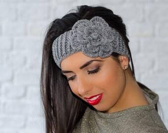 Grey flower headband, womens knit headband, winter headband, womens ear warmers, crochet headband, knitted headband, wool headband