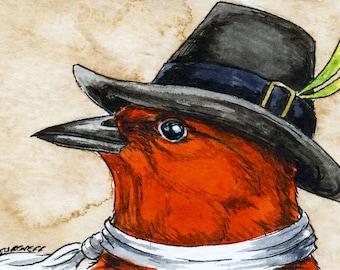The Laysan Honeycreeper ~~ No 88 of 100 series- ~ signed watercolor print