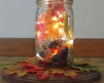 Fall Mason Jar Centerpiece-Fall Table Centerpiece-Mason Jar Light Fixture-Rustic Fall Home Decor-Thanksgiving Decor-Fall Mason Jar Decor