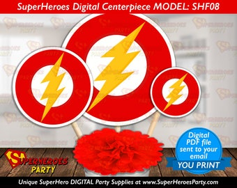 The flash logo party supplies decor birthday party boy Instant Download yellow red logos decorations gordon digital PDF files YOU PRINT