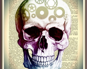 Skull  With Cogs On Vintage Dictionary Page - Digital Download