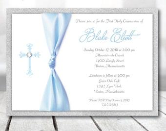 Boy First Communion Invitation Boy Blue and Silver