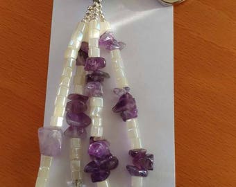 Amethyst and white nature keychain
