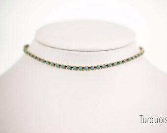 Adjustable Stone Chain Choker Necklace, Turquoise, Pearl, Beach Boho Jewelry, Layering Choker