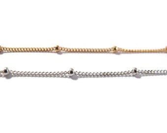 Satellite Chain, 14/20 Gold Filled or .925 Sterling Silver Beaded Chain, By The Foot, Jewelry Supplies, Everyday Necklace (11082f/s)