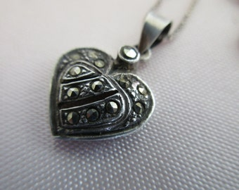 """vintage sterling silver heart with 18"""" sterling box chain- marcasites"""