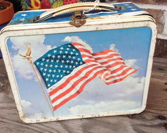 Vintage 70s Bicentennial United States of America Flag lunch box free domestic shipping