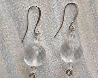 Snow Globe Earrings, Crystals, Winter, Ice, Frozen, Czech Glass