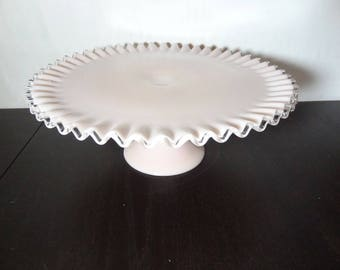 Vintage Fenton Pink Milk Glass Silver Crest Pedestal Cake Stand/Plate Ruffled Edge - Pink Rose Pastel Milk Glass Wedding/Shower Cake Stand