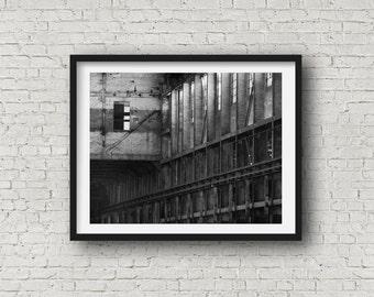 Industrial Abstract Wall Decor Black and White Loft Art, Fine Art Photograph in Bethlehem, PA. Modern Art Restaurant Art Bathroom Decor