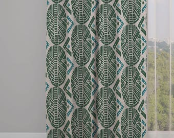 Masks Print Drapery Window Curtain Panel - Green - Free Shipping