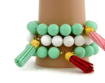 Set of 3 -  stacking bracelets - leather tassel - bohemian bracelets - yoga bracelet - tassel bracelet - boho jewelry - stretch bracelets