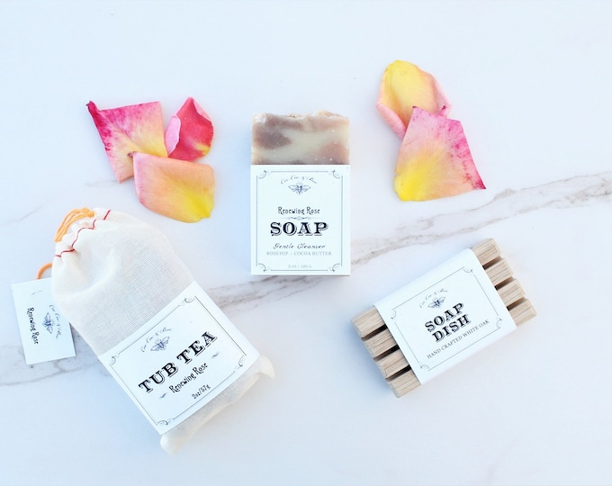Natural Bath & Soap Gift Set: U Pick Rose, Lavender or Chamomile - Handmade Cocoa Butter Soap + Tub Tea + Soap Dish / gift under 25
