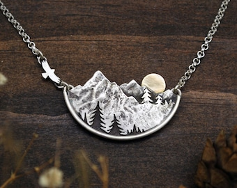 Adventure Awaits Mountain Landscape Necklace - Gold Sun, Pines and Flying Bird - Sterling Silver & 14K Gold - Camping Hiking Wanderlust