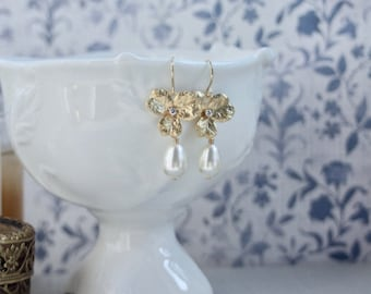 Gold Orchid Flower with Cubic Zirconia Earrings Orchid Ivory Color Pearl Drop Earring White Pearl Flower Wedding White Ivory color Pearls