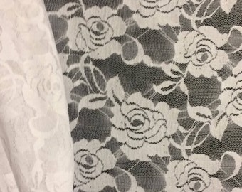 """Stretch Lace Fabric ~ White ~ 1 Meter, 39"""" ~ 58"""" wide Sheer Floral Rose 4-way"""